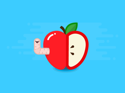Apple cute flat illustration design worm food fruit healthy apple icon