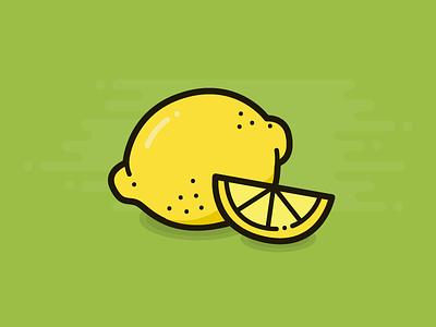 Lemon flat illustration design slice wedge food fruit healthy lemon icon