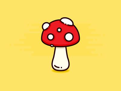 Mushroom flat illustration design vegetable food fungus fungi mushroom icon