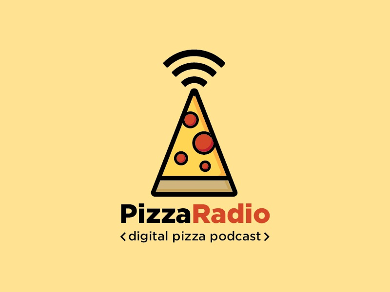 Pizza Logo icon vector flat illustration online marketing digital podcast radio pizza design logo