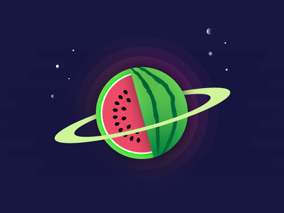 Watermelon Planet mbe flat stars space galaxy outer space fruit graphic illustration vector planet watermelon