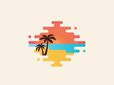 Bahamas vector graphic sunset palm trees bahamas illustration flat beach tropical