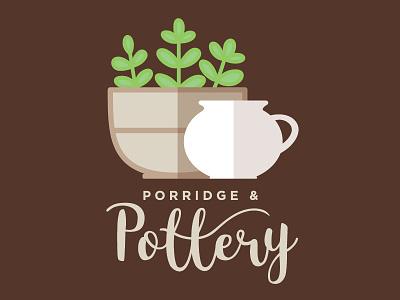 Porridge & Pottery Logo icon vector flat illustration lettering pottery design logo