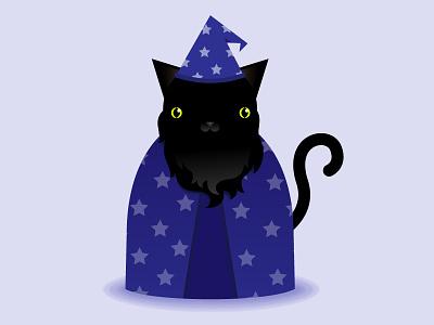 Cat Wizard design icon graphic vector magic flat illustration kitty cat wizard