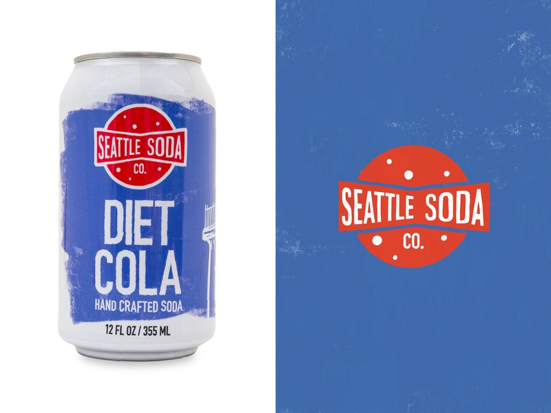 Seattle Soda - Diet Cola soda seattle branding logo graphic design illustration handcrafted
