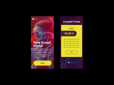 Sound portal mobile screens web design
