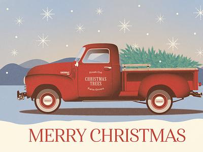 Christmas Truck Illustration vector logo branding illustration design