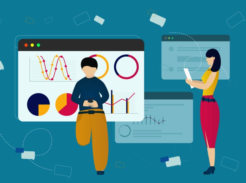 Illustration business man girl desktop screen chat inspiration imagination illustrator illustrations illustration art illustration designs designer design