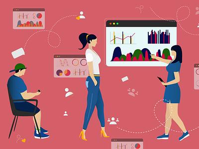 User & Data userinterface ui user conversation chat business work girls graphs data illustraion inspiration imagination illustrator illustrations illustration art illustration designs designer design