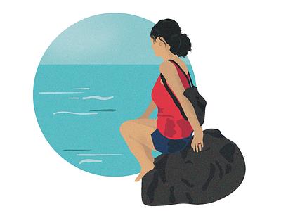 Ocean Daydreaming oceans rock ocean life day dream girl sky blue sea ocean beach inspiration imagination illustrator illustrations illustration art illustration designs designer design