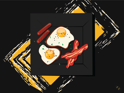 Eggs and Bacon plate sausage bacon eggs breakfast food inspiration imagination illustrations illustration art illustration illustrator designs designer design