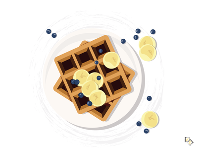 Waffles adobe illustrator adobe illustration art illustration illustrator designs designer design food illustration foodie food blueberry bananas banana sweet desserts waffles