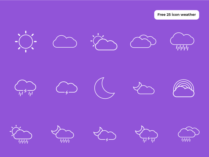 Icon weather - Freebies weather weather icon outline icon design icon set icon icons graphic design illustration freebies