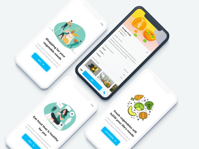 Healthy food app - freebies ios app design illustraion onboarding vegetable healthy app food app ux ui freebies