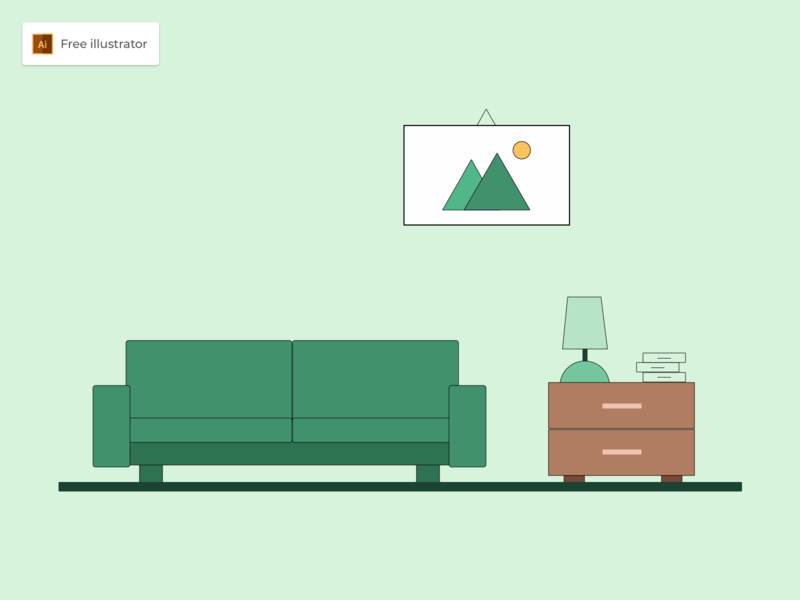 Living Room Flat Design Illustration - Freebies flat vector design icon room living room flat design graphic design illustration freebies