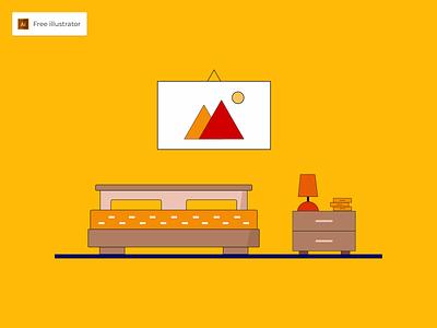 Bed Room Flat Design Illustration - Freebies icon bed room flat flat design illustraion vector graphic design illustration freebies