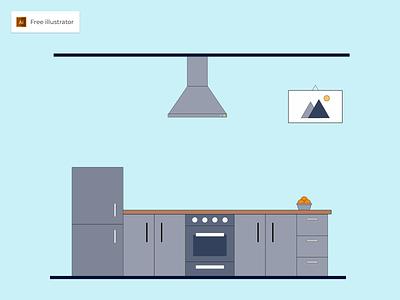 Kitchen Flat Design Illustration - Freebies design flat flat design icon kitchen graphic design vector illustration freebies