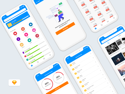 File Manager App - Freebies android app design file manager ui design ios design ui ux illustration freebies