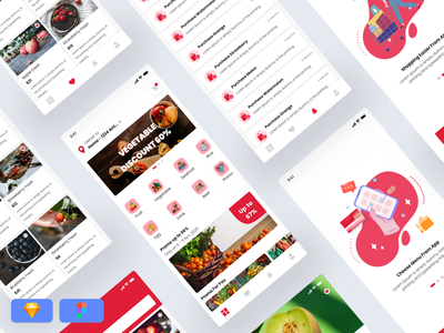 Grocery App - Free UI KIT grocery app grocery mobile design iphone android ios illustration ui ux freebies