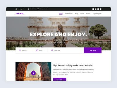 Traivel - Landing Page web landing clean travel uiux web design landingpage ux ui freebies