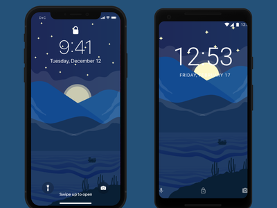 Wallpaper Night Iphone and Android - Freebies landscape design android iphone x ios wallpaper design wallpaper landscape background design background vector illustration freebies free