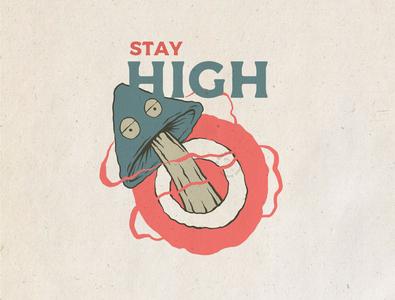 Stay High vintage tshirt tshirtdesign badge logo logo illustration hand drawn illustration tshirt design illustrator badge design badgedesign