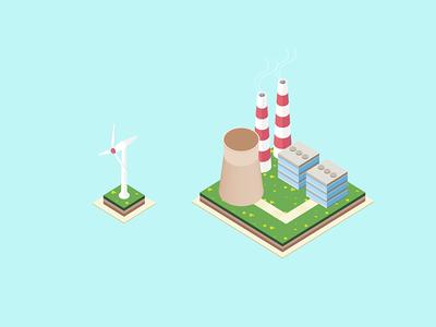 Energy Generation Isometric Illustration