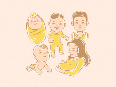 Kids And A Pregnant Woman Illustration