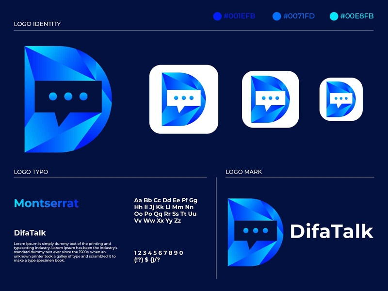 D letter chat logo media logo internet image illustrator icon graphic flat feedback design creativity creative conversation connect chit chat chatting chat bubble chat branding app