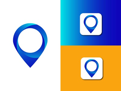 location icon logo region pointer point place pinpoint orange objects object map locator locate indicator green finder find colorfull colorful business blue area