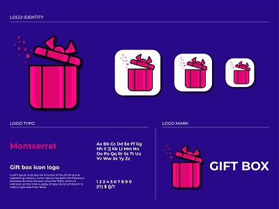 gift box icon logo minimalist logotype logo illustrative identity idea gift logo free resizeble free font exclusive editable design corporate concept company business branding brand box logo agency