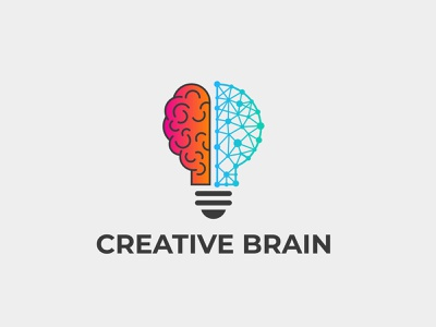 Creative technology brain logo leaves learning lamp intelligent innovation ideas idea happy education digital design creativity creative colorful clean bulb bright brain blog app