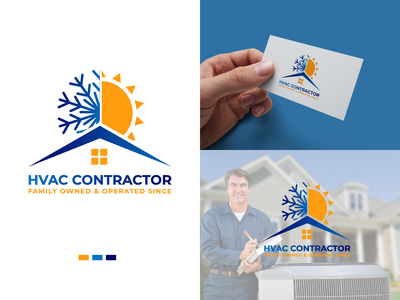 Hvac Air conditioner and heating home service logo snowflake snowboard snow nature mountain love idea ice cube ice heart frozen frosted frost flake cold chill business blue app air conditioner