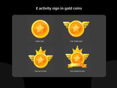 E activity collar gold coin icon item icons ui light quasi-physical crown wings upgrade