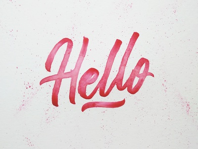 Hello Dribbble brushpen calligraphy type pink watercolor hand lettered handmade lettering hello
