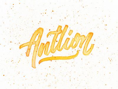 Antlion script type calligraphy handmade hand lettered antlion lettering yellow brushpen brush