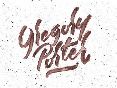 Gregory Porter brown splatter handmade lettering brush watercolor jazz gregory porter
