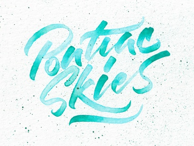 Pontiac Skies folk milk carton kids watercolor splatter lettering handmade brushpen brush green blue pontiac