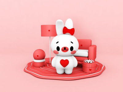 3D effect,Cinema 4D- character cute rabbit 2