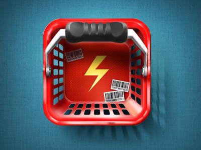 Quicket iOS Icon test 2 iphone icon app basket cart deal lightning market shop shopping ios