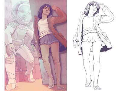 Star Child astronaut scifi garota feminine cosmic pop pop art girlpower girl illustration