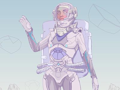 The Voyager thirdeye sci-fi cosmos cosmic astronaut pop pop art ilustração illustration girlpower garota girl design feminine