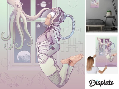 Gods Among Us alien octopus scifi cosmic astronaut pop pop art ilustração illustration girlpower girl garota feminine design