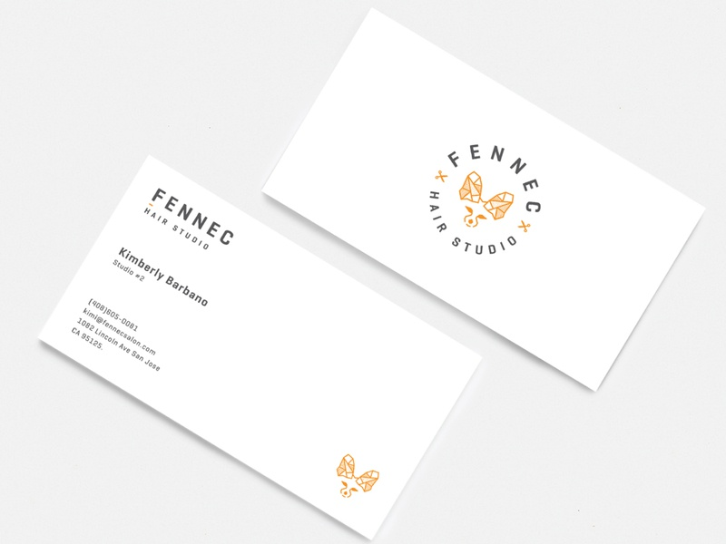 Business cards clean simple minimal animal logo typography branding fennec logo fox logo minimal layout business card