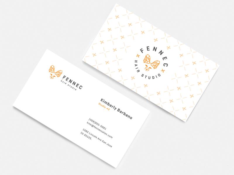 Business cards minimal layout wild pattern minimal fox logo fennec logo animal logo typography branding