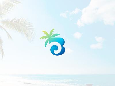 Palm Beach clean simple minimal wave logo wave palm tree logo palmtree beach logo b letter logo