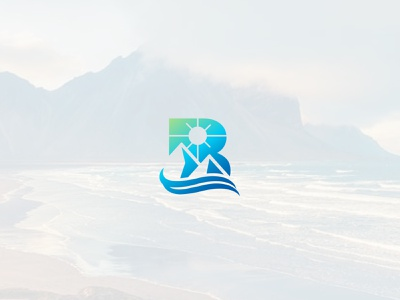mountain beach b letter clean minimal simple wave wildlife sunset sun beach mountain logo b letter logo