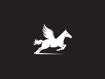 Pegasus minimalist logo simple clean minimal animal logo mythical horse mythical creature divine horse pure white horse wings wings horse pegasus logo