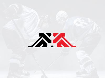 Hockey rivals people logo minimal clean simple sports logo hockey rivals hockey team hockey mask hockey player hockey stick hockey hockey logo