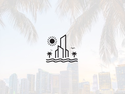 Miami Real Estate tourism travel agency appartments residential ocean bird clean simple minimalist logo sunny day sunny sunset palm trees real estate logo